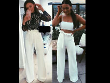 Womens High Waist Party Pants Frill Ruffle Palazzo Stretchy Flare Silk Trousers