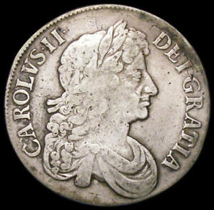 1673 Charles II Silver Crown 3 over 2 in Date Bull 393 Rare
