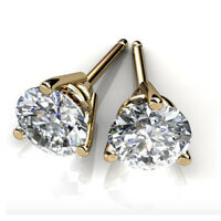 4.00 Ct 3 Prong Diamond Earring Stud 14K Solid Yellow Gold Round Cut Studs