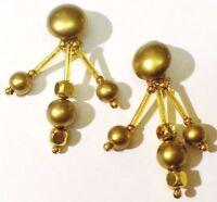 boucles d'oreilles clips bijou vintage fantaisie perle pampille couleur or *4668