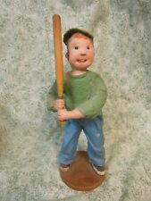"""den-111   DIANNE DENGEL boy figurine sculpture; """"AT BAT"""" OOAK; 10"""" tall"""