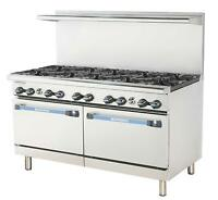 "Radiance TAR-10 60"" Restaurant Gas Range w/ 10 Burners and 2 Ovens"