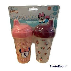 Disney Baby 2 Pack Minnie Mouse Sipper Cups Spill Proof Cudlie Bows Bpa Free