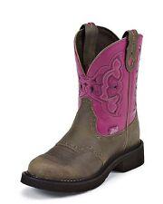 Justin Gypsy Cowboy Boots (L99260) -  Castle Brown w/Fuchsia- Women's 6 -  NEW!