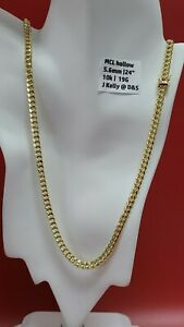 """10k Gold Miami Cuban Curb Link 24"""" 5.6mm 19 grams chain Necklace"""