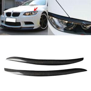 Carbon Fiber Headlight Eyelid Eyebrow Trim For BMW 3 Series E92 E93 Coupe 2-Door