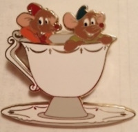 Disney Pin 91700 DSF Cinderella Movie Jaq and Gus White Teacup & Saucer LE 300 #