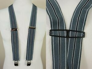 Vintage Grey Stripe H Fit Clip On Braces Suspenders Suede MT92