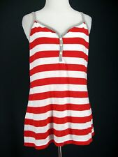 OLD NAVY Top M Red Striped White Candy Cane Cami Shell Tissue Knit