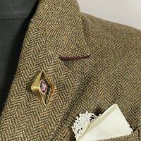 VINTAGE 70s Modernist Brooch Lapel Pin Manpin Diamond Geometric Purple Stone