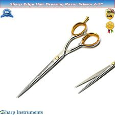 "Straight Edge Hair Cutting Salon Scissors 6.5"" Barber Shears Hairdressing Scisor"