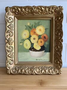 Mid-Century So. CA Artist Small Oil Painting Signed Framed c1960s-70s
