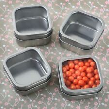 75 Silver Metal Square Fillable Mint Tin Wedding Bridal Shower Party Favors