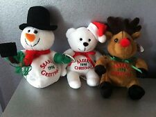 ADORABLE COLLECTIBLES CHRISTMAS BEANBAG SET OF 3 MINT W/MINT TAGS RARE 1998