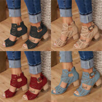 Women Peep Toe Buckle Hollow-Out Sandals Faux Leather Mid Block Heels Shoes Size