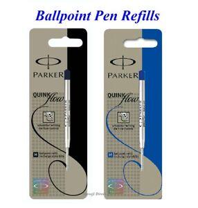 2 x Genuine Parker BALLPOINT Pen Refill Fine or Medium BLUE or BLACK - Pack of 2