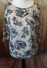 Phase Eight Size 18 Beige And Grey Floral Top NEW