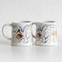 Set of 2 White Country Hens Footed Mugs 13oz Porcelain Floral Tea Coffee Cups