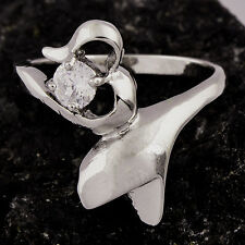 Fashion Wedding Engagement 14K White Gold Plated Clear Crystal Heart Ring Size 5