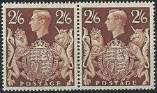 KGVI HV Arms Definitive 1939: SG476 2/6d Brown PAIR with Mark in Shield. MNH**.