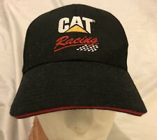 CAT RACING Logo Black Cap Hat Adjustable Caterpillar Checkered Flag NWT
