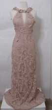 BCBG Maxazria Beige Embroidered Cut Out Floral Halter Gown NWOT 0