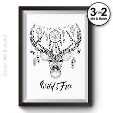 Cute Geometric Stag Head Giclee Quality Wall Art Print - 100% Cotton Aztec Deer