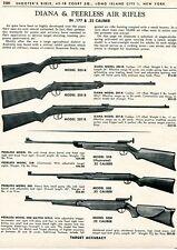 1962 Print Ad of Diana Model 202-R 205-R 207-R & Peerless 35B 50E 50M Air Rifle
