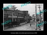 OLD POSTCARD SIZE PHOTO LEWISTON IDAHO THE MAIN STREET & STORES c1920