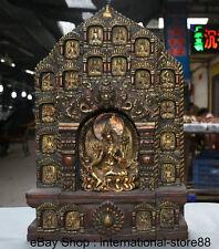 "17"" Old Tibet Copper Gilt Wood Green Tara Shakyamuni Amitabha Buddha Shrines"