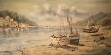 "Large European Oil Painting on Canvas by ""Ruffo"" Harbor w/ Boats, BEAUTIFUL!"