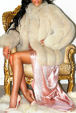 GORGEOUS CREAM BISCUIT REAL GENUINE BLUE SAGA FOX FUR COAT JACKET PURE DIVINE!