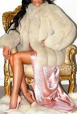 Splendido Crema Biscotto Genuino Reale Blu SAGA Fox pelliccia giacca pura divino!