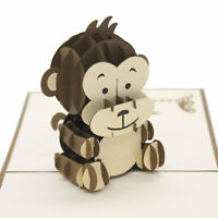 Handmade 3D Pop Up Baby Monkey Birthday Card UK Seller
