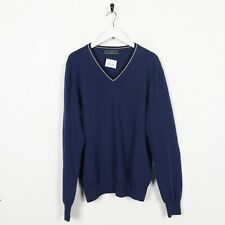Vintage FRED PERRY Small Logo Knitted Sweatshirt Jumper Blue   XL