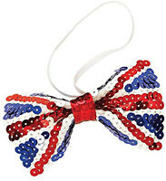 Union Jack Flag Sequinned Sequin Bow Tie British Fancy Dress Costume Accessory