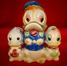 Donald Duck & Nephews Art Deco Hand Painted Condiment Set - Made In Japan 1930's