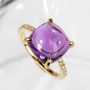 Natural Amethyst Gemstone GTL Certified Ring 14 K Yellow Gold For Women