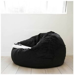 "1 PC Black Velvet Bean Bag Cover XXl 48"" x 48"" x 34"" (inch) [Without Beans]"