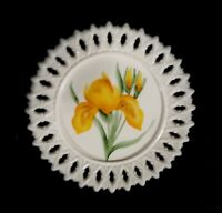 Reticulated Milk Glass Plate With Hand Painted Daffodil Flower