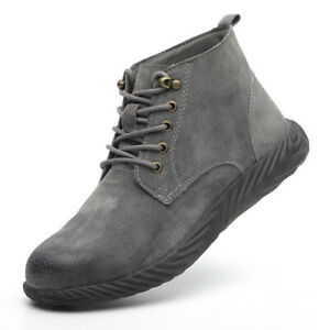 Men Hiker Sneake Ankle Safety Boots Lace Up Steel Toe Cap Work Boots Casual Shoe