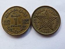 Pièce monnaie MAROC MORROCO 1 francs 1945 état voir scan