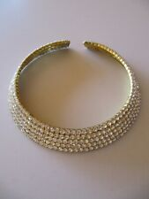 Gold with Rhinestones Choker Necklace, Excellent Condition.