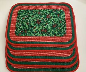 Vintage Christmas Quilted Placemats 5 Reversible Cotton Holly Berry Polka Dot