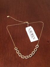 lauren ralph lauren gold tone pave necklace new with tags