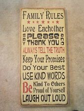 FAMILY RULES,  ALWAYS TELL THE TRUTH,  primitive wood sign subway poster style