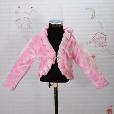 New Girls Pink Faux Fur Long Sleeves Coat Bolero 3-4 Years