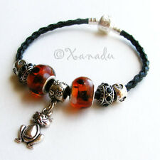Black And Brown Calico Kitty Cat Beads On Black Leather European Charm Bracelet