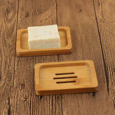 1Pc Natural Bamboo Wood Bathroom Shower Soap Tray Dish Storage Holder PlateWp4