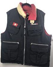 Tommy Hilfiger Expedition Vest Black Vtg Large Down Ski Patrol Full Zip Pockets
